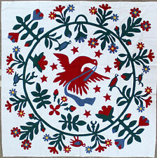 Hand Applique Eagle and Floral block QUILT TOP - Perfect center for QOV or Baby