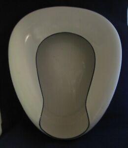 Porcelain Enamel Ware - Vintage Seamless Bed Pan - White With Black Trim