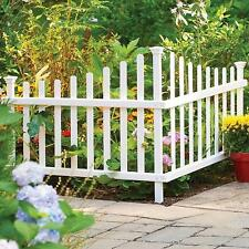 Outdoor White Maintenance Free Vinyl No Digging Corner Picket Fence Fencing