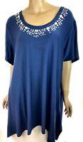 Avenue Blue Tunic Top Size 26/28 Short Sleeve Crystal Beads Asymmetric Hem