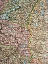 1919 LARGE MAP ~ NORWAY & SWEDEN SOUTH ~ GOTHENBURG BERGEN HORDALAND