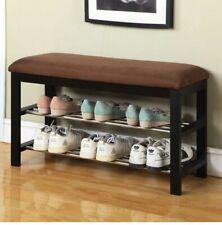 Wood Shoe Padded Bench Storage Durable Wood Frame w/ Metal Racks Home Organizer