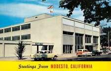 Modesto California Irrigation Building Street View Vintage Postcard K90220