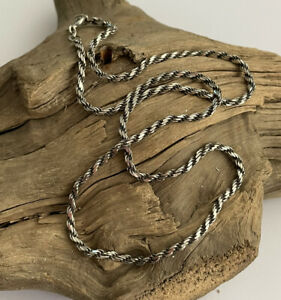 Vintage Italy 925 Silver Rope Twist Chain Necklace 16 Inch 7.1 Gram Ladies