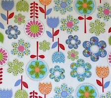 A DESIGN OF BRIGHT APPLIQUÉ LOOK FLOWERS IN MULTICOLOURS ON WHITE- FABRIC FQ'S