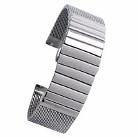 18/20/22/24mm Milanese Mesh Web+Strip Silver Stainless Steel Watch Band Strap