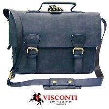 Large Briefcase Messenger Bag Real Leather Distressed Blue Visconti New 16106