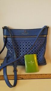 Kate Spade Reidy Perri Lane Bubbles Beautiful Blue Leather Crossbody Bag