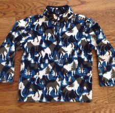 Gymboree Boys Size Small 5/6 Blue Animal Print 1/4 Zip Fleece Jacket