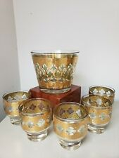 Mcm~Set 6~Mid Century Culver Valencia~22k Gold&Green~5 Low Glasses & Ice Bucket