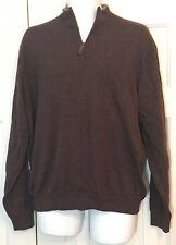 ALASHAN Cashmere Cotton 1/4 Zip Sweater Brown Tan Brige Men's LARGE