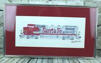 Santa Fe Train Engine Original Ink Drawing  by Andy Fitt 1992 Framed Matted