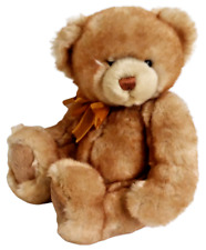 "HugFun Brown Teddy Bear Orange Bow Super Soft Sitting Stuffed Animal Toy 10"""
