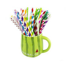 100pcs color mix polka dot paper straws wedding drink party tablewear