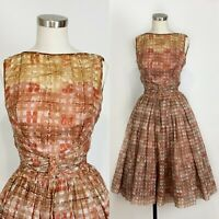 1950s A-Line Dress With Illusion Neckline - Patterned SMALL