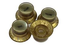 Bell Hat Knobs Gold w/ Smooth Gold Reflectors for Import guitars