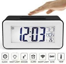 Reloj Digital Calendario de temperatura de alarma de repetición de alarma control de voz de la luz de fondo