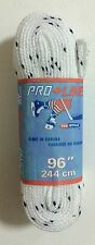 """Tex Style Pro Line Hockey Skate Laces 96"""" - 244cm White Wide Unwaxed"""