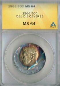 1966 Philadelphia 50C Rainbow Toning Silver JFK Half Dollar ANACS  MS 64