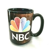 Vintage NBC Peacock Logo Black Mug Television Network Logo Coffee Cup