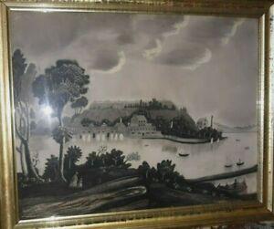 19TH CENTURY FOLK ART-Sandpaper/Charcoal/Pastel-Ohio River-West Virginia
