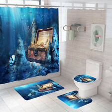 Treasure Shower Curtain Bathroom Rug Set Soft Bath Mat Non-Slip Toilet Lid Cover