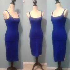 American Apparel Bright Blue Midi Tank Dress Small Stretch Classic Sleeveless