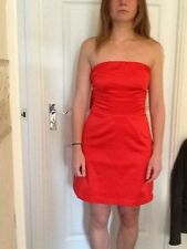 Ladies  Red strapless party dress. Size 8 . Asos . Bow Feature On Back.