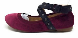 Style Charles David Womens Ankle Strap Ballet Flat Shoes Maroon Suede Size 7.5 M