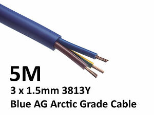 5M Arctic Blue 3183Y Flex Cable 3core x 1.5mm: Outdoor Caravan Camping Artic
