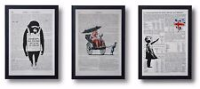 3 FRAMED BANKSY ART PRINTS ON OLD ANTIQUE BOOK PAGE MONKEY BALLOON GIRL RICKSHAW