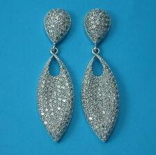 New Solid 925 Sterling Silver Stylish CZ Dangle/Drop  Earrings Bridal Jewellery