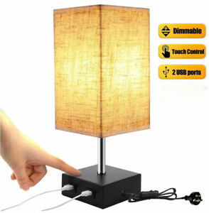 Touch Control Dimmable Table Lamp with 2 USB Charging Ports Desk Office UK Plug