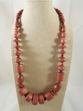 """Brown Wood Graduated Mixed Shape Bead Screw Closure Necklace 23"""""""