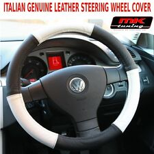 VW Caddy T4 T5 Van Transporter Black / White Real Leather Steering Wheel Cover