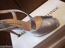 MANOLO BLAHNIK ITALY SIZE 38 8 7.5 SNAKE PYTHON HEEL SHOES SILVER COLOR
