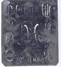 Große Monogramm Schablone HU  Jugendstil   Weißblech 15,5 x 18 cm Weissstickerei