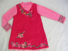 LN BEETLEJUICE LONDON Red Pink Dress Top 4T 4 $86 Euro Boutique Shirt Cord Tunic