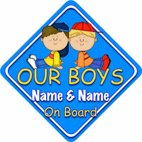 Our Boys Car Sign Like Baby//Child On Board Bright Blu