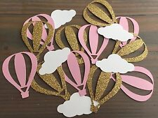 50 Hot Air Balloon Confetti, Baby Shower, Birthday Party, Gold Glitter And Pink