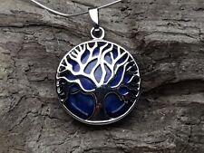 Edelsteinanhänger, Lapis Lazuli rund Silber 27 mm, Kette, Schmuck, Lebensbaum