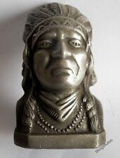 Indian Head Chief piggy coin bank motorcycles aluminum #E988