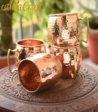 AsiaCraft 18 Oz Pure Copper Hammered Moscow Mule Vodka Mug Lacquered, Set of 4
