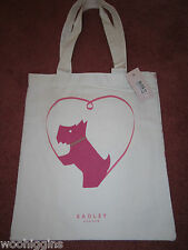 RADLEY LOVE IS ALL AROUND CANVAS TOTE BAG -WITH ZIPPED POCKET - SEE PHOTOS/ BNWT
