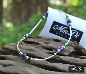 Handmade Stretch Anklet with Sterling Silver, Glass Beads & Amethyst.