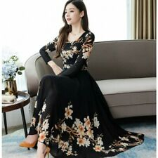 Women Fashion Elegant A-line Dress Print Long Sleeve Plus Size Casual Dress