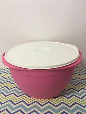 Tupperware Mega Bowl 42 Cups Pink w/ Ivory Seal Large Mixing Bowl New