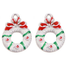 20pcs White Red Green Enamel Christmas Jewelry Charms Alloy Pendants Handmade D