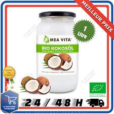 Huile de Noix De Coco Bio 100% Extra Vierge Pure Biologique Naturel MEAVITA 1L