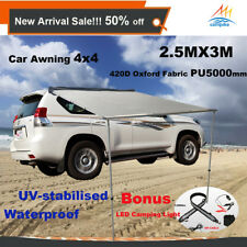 2.5M X 3M Car Side Awning Roof Rack Tents +1.3M LED Camping Lights 4X4 4WD